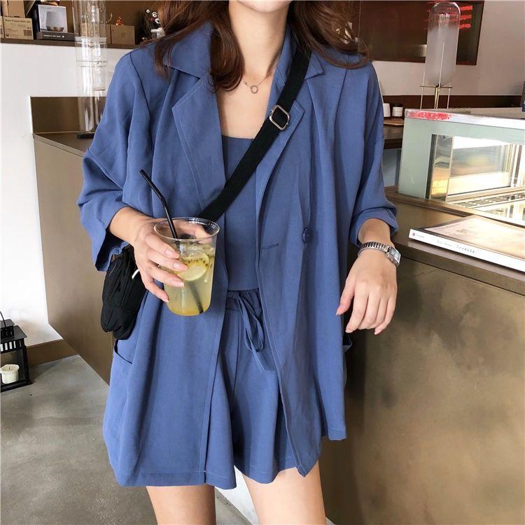 37797-2021春夏新款韩版女神范时尚三件套小吊带西装外套高腰短裤套装女-详情图