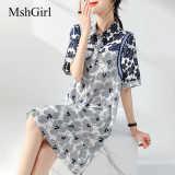 MshGirl 2021夏季新款连衣裙时尚螺纹拼接印花撞色泡泡袖显瘦纯棉