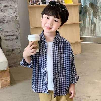 2021新款男女童衬衫春秋外套儿童加厚格子衬衫韩版潮宝宝长袖衬衫