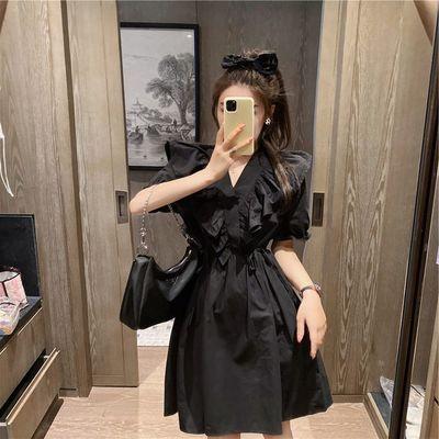 法式初恋赫本风小黑裙夏装2021年新款高端欧洲站收腰连衣裙子