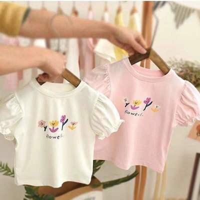 夏新款2021女宝宝小童女童韩版潮流花朵泡泡袖短袖T恤上衣印花