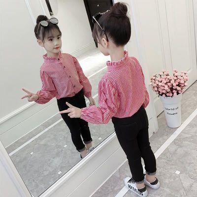 女童衬衫秋冬2021新款女孩娃娃领格子衬衫韩版潮宝宝长袖外套