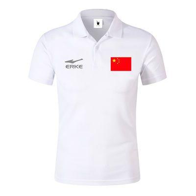 夏季新款中国红旗Polo衫上衣男休闲运动大码T恤翻领女纯色衬衫中