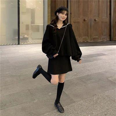 76099/海军领卫衣套装女2021秋冬新款宽松韩版简约时尚休闲两件套背心裙