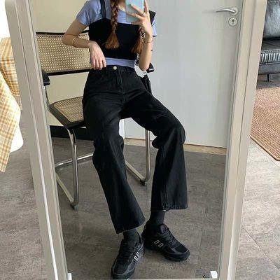64915/大码黑色牛仔裤女2021年秋冬破洞新款直筒裤宽松高腰显瘦长裤潮