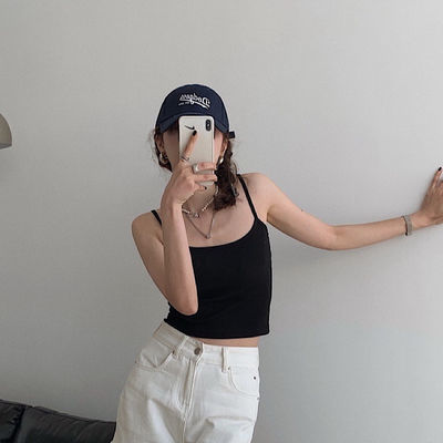 61383/黑色吊带背心女夏季西装内搭打底衫辣妹外穿ins超火露脐短款上衣