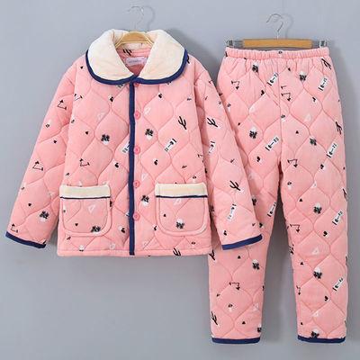 66656/女士睡衣冬季三层夹棉加厚加绒保暖珊瑚绒法兰绒妈妈家居服女套装