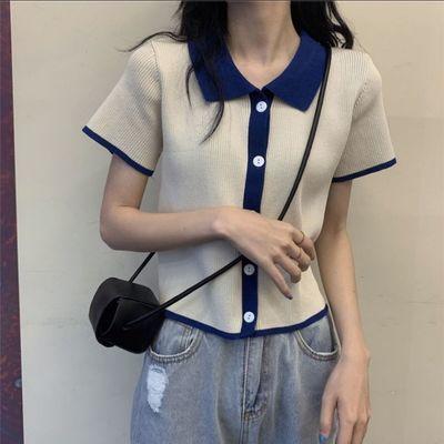 72204/01撞色港味学院风排扣短袖针织开衫上衣女夏季2021学生休闲风POLO