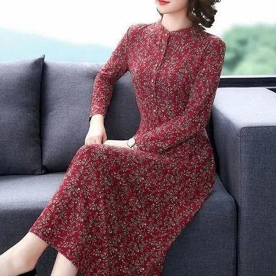 70148/阔太太高端洋气长袖连衣裙2021春秋冬新款中年女装气质贵夫人长裙