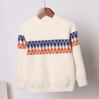 男童毛衣仿水貂2021韩版圆领套头中小童针织儿童打底衫棱形上衣