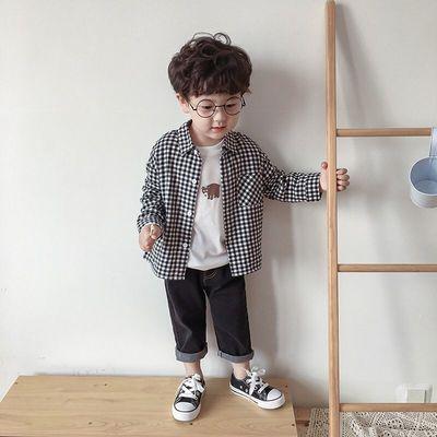 男女童装洋气上衣春秋2021新款格子长袖衬衫韩版儿童衬衣潮