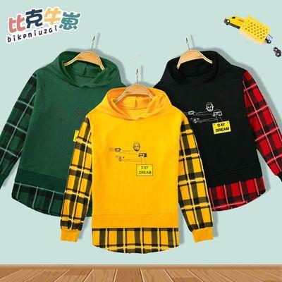 童装男童秋季卫衣2021新款儿童格子拼接休闲上衣大中小童3-12岁潮