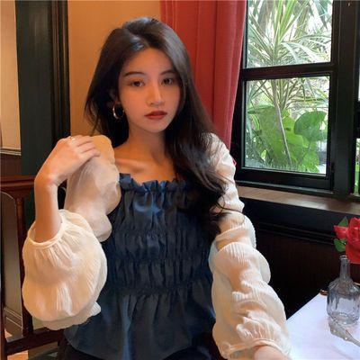 66307/秋冬季新法式锁骨方领上衣设计感女小众小心机衬衫女装2021年新款