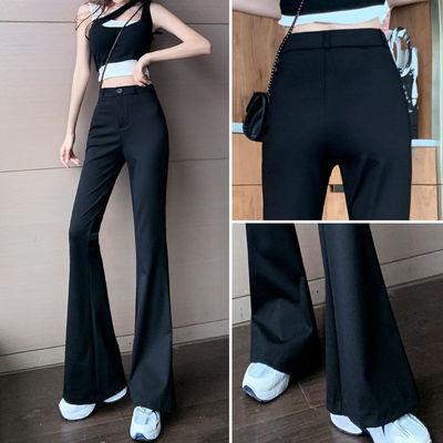 77601/西装裤子女2021秋季新款高腰宽松显瘦微喇叭裤黑色垂感休闲长裤