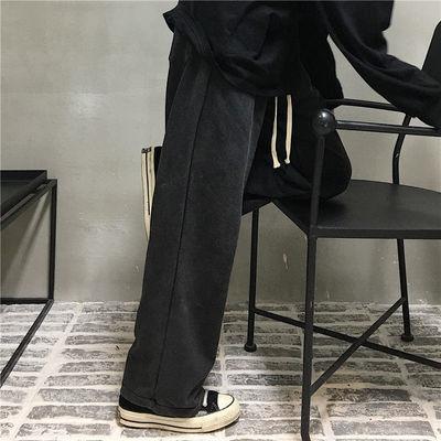 77314/运动裤秋季ins原宿风黑色百搭直筒裤垂感宽松阔腿休闲裤男女长裤