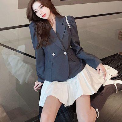 66041/西装套装女设计感镶钻泡泡袖上衣2021秋季新款时尚洋气短裙两件套