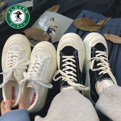 61271/PLOVER啄木鸟厚底帆布鞋女可爱日系大头鞋2021新款学生百搭小白鞋