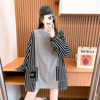 75018/秋季假两件拼接条纹韩版卫衣女中长款宽松长袖上衣设计感小众外套