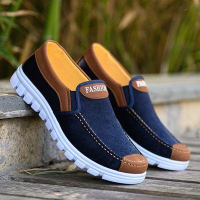新款老北京布鞋防滑耐磨休闲鞋一脚蹬透气帆布鞋爸爸鞋工作鞋板鞋