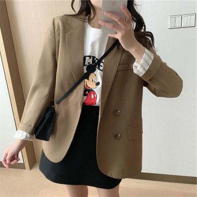73464/咖色西装外套女2021春秋新款长袖韩版宽松显瘦时尚气质网红小西服