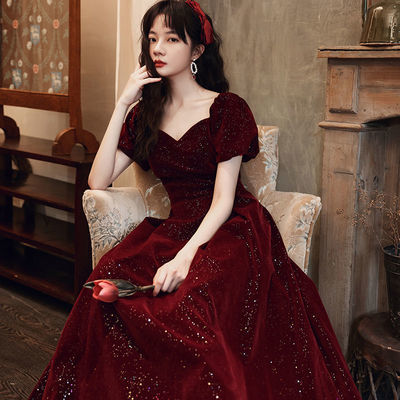 73092/敬酒服新娘2021新款结婚回门晚礼服长款优雅气质宴会高贵平时可穿