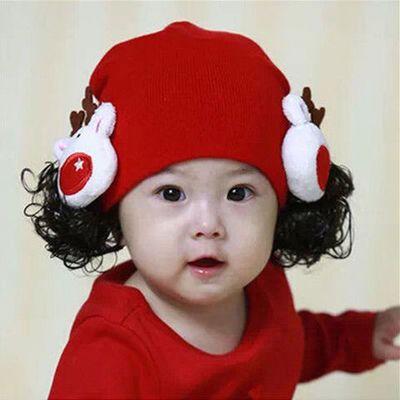婴儿帽子秋冬季超萌0-3-6-12个月女宝宝可爱婴幼儿童1岁毛线帽2