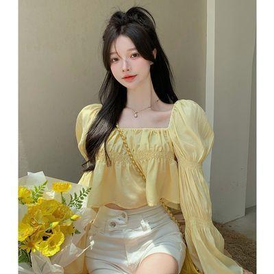 66363/泡泡袖衬衫女秋季薄款小个子方领衬衣甜美长袖短款法式一字肩上衣