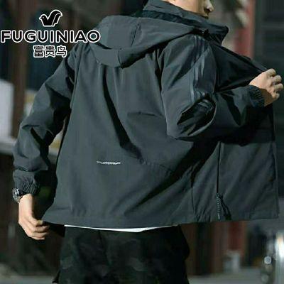 92628/富贵鸟运动风衣男士单衣连帽外套宽松大码加肥休闲套里上衣灰黑色