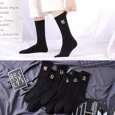 78936/6双装袜子女韩版中筒长袜黑色字母刺绣可爱日系ins时尚百搭堆堆袜