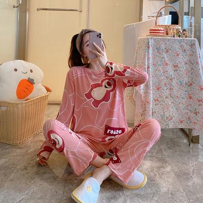 77333/睡衣女秋季套装新款韩版可爱学生清新甜美宽松卡通外穿女士家居服