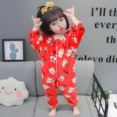 91052/儿童睡袋秋冬季法兰绒宝宝连体睡衣春秋小孩家居服婴儿分腿防踢被