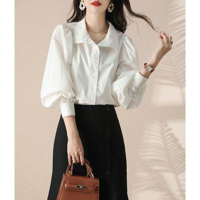 91275/MISSLI BY NAWAIN 时尚高档衬衫女21夏季新品泡泡袖燕子领上衣