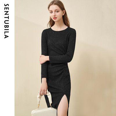 87068/尚都比拉轻优雅针织连衣裙圆领时尚收褶亮片裙子2021新款女士秋装