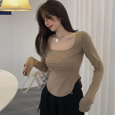 66949/不规则开叉辣妹长袖T恤女夏季2021新款薄款内搭打底衫短款上衣ins