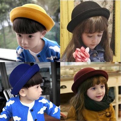 69032/秋冬儿童盆帽英伦风圆顶小礼帽男童可爱猫耳朵渔夫帽宝宝毛呢帽女