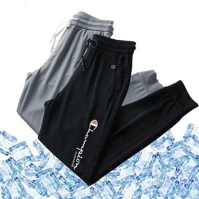 夏季高档冰丝裤男女同款情侣刺绣休闲运动裤薄款透气束脚空调长裤