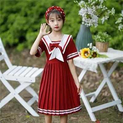 75354/女童连衣裙2021新款短袖夏装连衣裙网红日系学生学院风中大童裙子