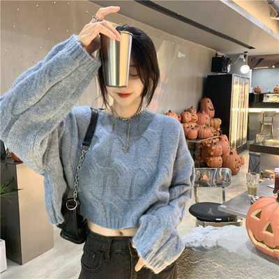 75020/短款毛衣女秋季2021年新款日系慵懒风小个子圆领套头针织长袖上衣