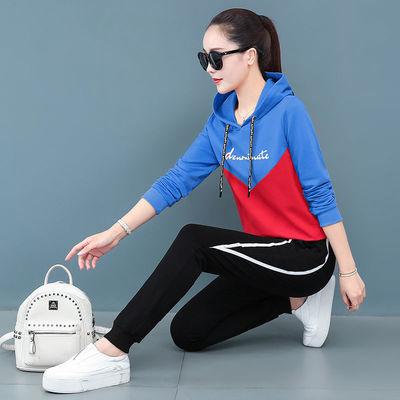 61385/纯棉运动服大码套装女2021夏季新款韩版宽松短袖长裤休闲两件套潮