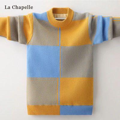 拉夏贝尔童装男童毛衣秋装新款套头打底衫中大童外穿针织线衫潮流