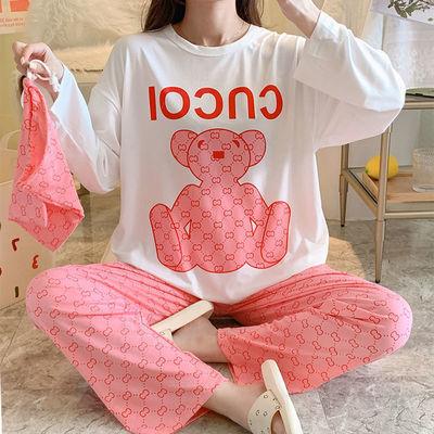 67120/睡衣女春秋长袖长裤薄款夏季卡通宽松圆领学生少女可爱外穿家居服