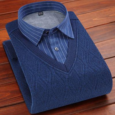 啄木鸟冬季男士加绒衬衫保暖加厚针织衫假两件休闲格子套头男装衣
