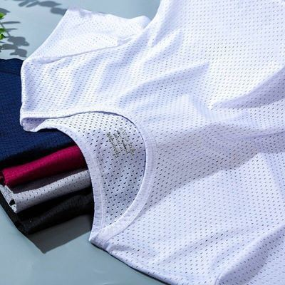 夏季男士冰丝T恤网眼圆领短袖薄款弹力修身体运动速干宽松t打底衫