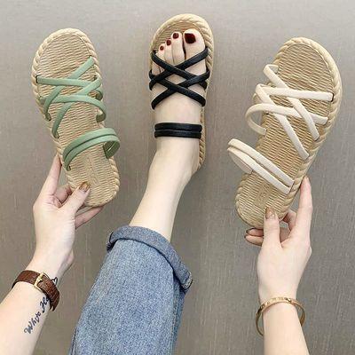 60961/时尚爆款凉拖鞋女夏新款外穿时尚平底罗马风格防滑沙滩女士拖鞋潮