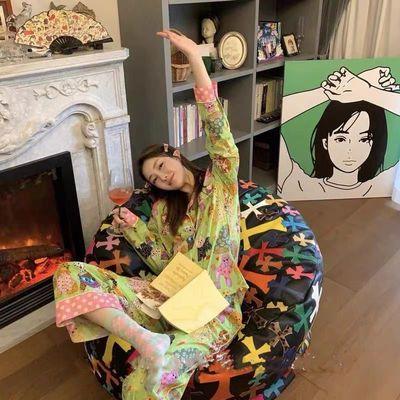 77462/睡衣女春秋周雨彤同款karenmabon卡通印花宠物睡衣套装女士家居服