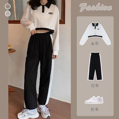 75423/POLO领卫衣套装女2021秋冬新款韩版短款长袖上衣休闲运动裤两件套