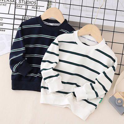 儿童卫衣男女童纯棉长袖T恤2021宝宝条纹打底衫中小童韩版卫衣