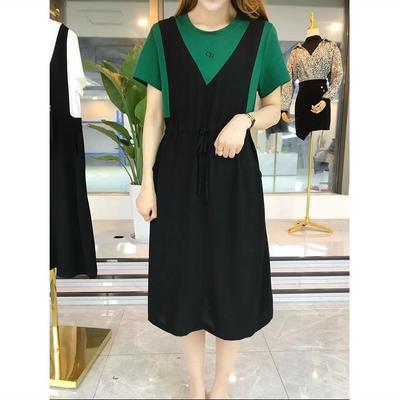74929/两件背带裙女2021夏季新款中长款宽松显瘦时尚休闲连衣裙雪纺裙