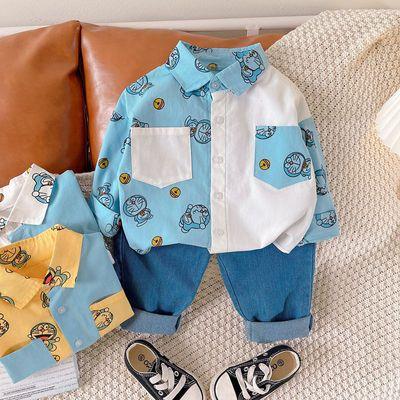 儿童衣服男女童秋装套装2021新款拼接满印衬衣牛仔两件套可爱宝宝