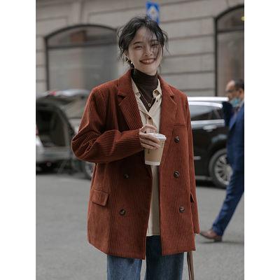 77595/觅定灯芯绒西装外套女秋装2021新款复古设计感小众小个子西服上衣